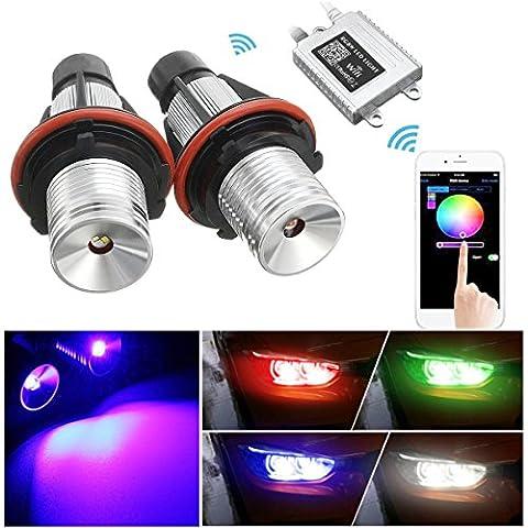 AMBOTHER LED Autoscheinwerfer Angel Eyes Xenon Licht RGB mit WIFI Fernüber