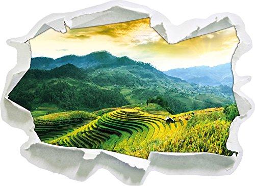 Reisfelder in Vietnam, Papier 3D-Wandsticker Format: 92x67 cm Wanddekoration 3D-Wandaufkleber Wandtattoo (Vietnam 3d)