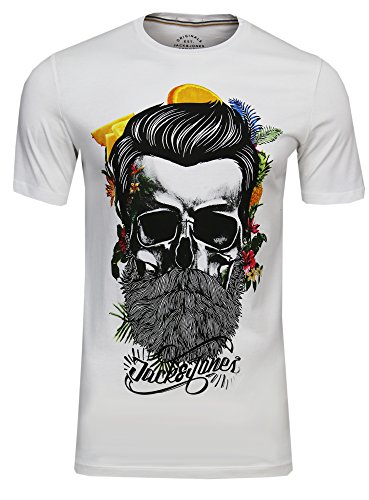 JACK & JONES Herren T-Shirt Festival Flower Support Tee Crew Neck Bart Skull Totenkopf Schädel Print Sonnenbrille,(Cloud Dancer,S)