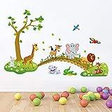 Adesivo da parete Bambini Bambini Ragazzi Ragazze Camera Decorazione della parete Poster Animali del fumetto allineati per camminare attraverso il muro del ponte Decalcomanie Animali della foresta