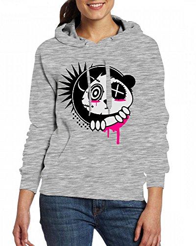 Custom Womens Hooded - Design A sticker with panda Hoodies Grey