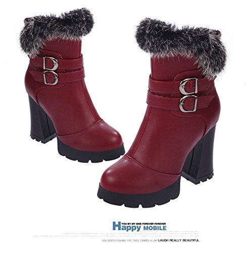 Gaorui Damen Stiefeletten Ankle Boots mit Fleece Warm Gefüttert Blockabsatz Schwarz Rot Rot