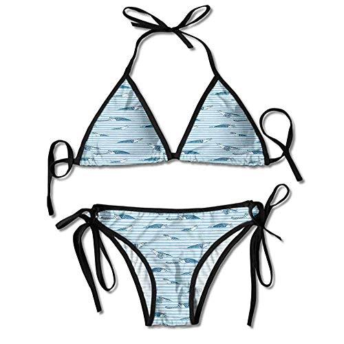 Metallic Abstract Print (Womens Swimsuit Tops Only Blue Stripes Abstract Print Aquatic Printing Bikini)