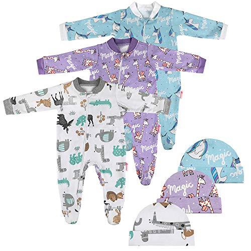 Lictin 6 Piezas Pijama para Bebé- Mameluco de Algodón con Cremallera con Puntos de Pegamento Antideslizantes...