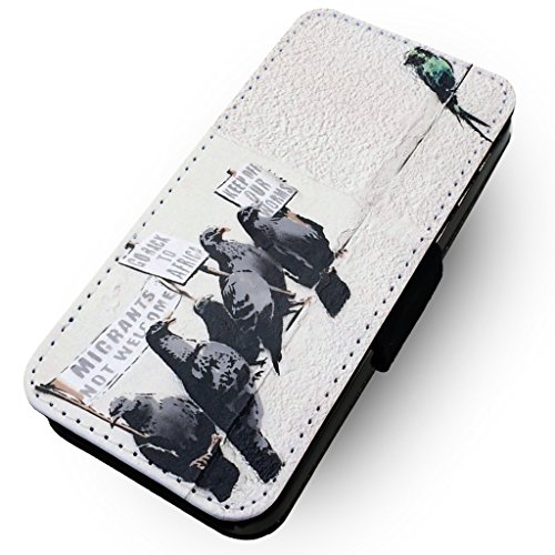 WTF | Banksy Einwanderer nicht Welcome | Kunstleder Flip-Telefon Fall |, Kunstleder, HTC One M8 (Htc M8 Flip-telefon Fall)