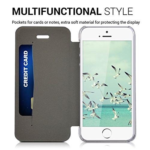 kwmobile Hülle für Apple iPhone SE / 5 / 5S - Bookstyle Case Handy Schutzhülle Kunststoff - Flipcover Klapphülle Mintgrün Transparent .Mintgrün Transparent