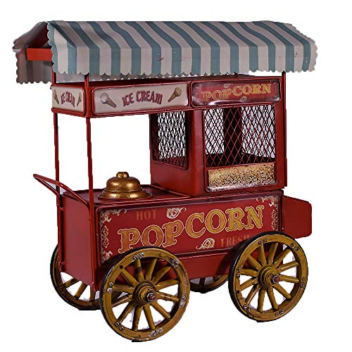 UniqueGift Rotes EIS und Popcorn Maschine Metall Sammlerstück Vintage Retro Stil Ornament Home Industrial Decor Gellato Shop Mobile Van Figur