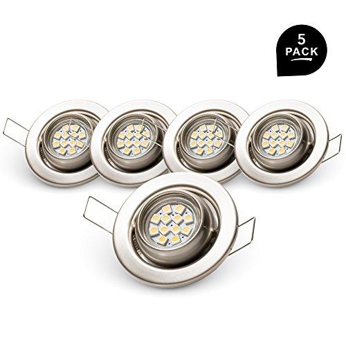Metall-lampe Deckt (Brollux® 5 Stück LED Einbaustrahler Set Einbauspot Optik:Edelstahl gebürstet | 2W | 230V | WarmWeiß | LED-austauschbar MR11 | Klein Schwenkbar Einstelbar Rund Einbauleuchte Einbaulampe)