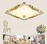 XIN HOME Im europäischen Stil Led Kristall Deckenleuchte Augenschutz Square Living'S Zimmer Kinderzimmer Lichter Einfache europäische Balkon Home Improvement Lampen, Gold 40 Cm 24 W, 3-farbige LED