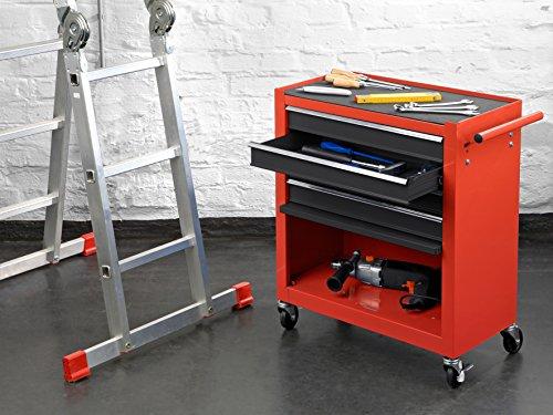 Meister Werkstattwagen M-1, ohne Werkzeug - Räder mit Feststellbremse  - 4 Schubladen & Maschinen-Ablagefach / Mobiler Werkzeugwagen leer / Rollwagen / 8986100 - 6