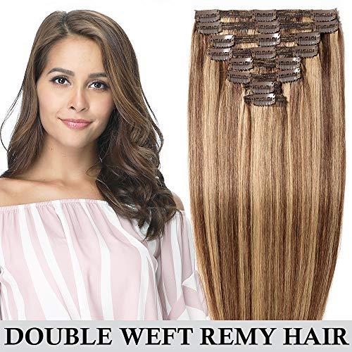 Clip in extensions echthaar Doppelt Tressen 100% Remy Echthaar 8 teiliges set Haarverlängerung dick (55cm-160g,#4/27 Mittelbraun/Dunkelblond)
