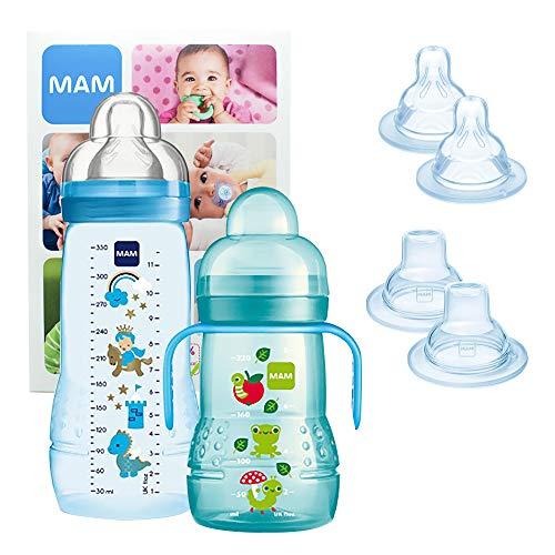 MAM Training Bottle Set, Set di accessori bimbi con 1x biberon di apprendimento Trainer (220ml) e 1x biberon Easy Active (330ml), Set biberon per 4+ mesi con fantasi