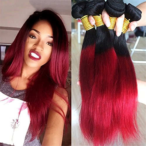 GYXhair 8A Brasilianisch Seidig Gerade Echt Mensch Haarverlängerung Schwarz zu rot Ombre Zwei Ton Haar Weben Virgin Echthaar Tressen 1 Bündeln 100g, 16
