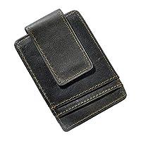 Le'aokuu Mens Genuine Leather Cowhide Magnet Money Clip Credit Case Case Holder Slim Wallet (Grey 2)