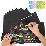 Ebeta 30 Blätter Kratzbilder für Kinder Kratzpapier Scratch Paper mit Hintergrund in Regenbogen Scratch Art Blätter 21 * 28cm mit 3 Holzstylus und 4 Schablone