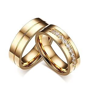 Beglie 2 Stück Edelstahl Verlobungsring Diamant Eheringe Edelstahl Eheringe Bicolor Paarpreis für Frauen Männer