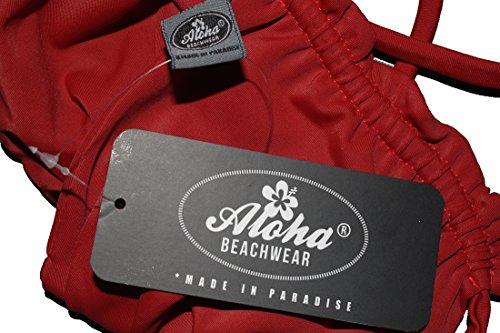 Aloha-Beachwear einfarbiger Damen Neckholder Bandeau Bikini A9001, uni Rot