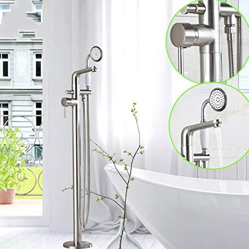 FMXKSW Duschsystem Freistehender Badewanne-Mischbatterie-Einhebelmischer aus gebürstetem Nickel mit ausziehbarem Handbrausenfüllschalter