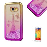 For Samsung Galaxy A3(2017 Model) Case A320 Cover, Funyye New Creative Floating Water Liquid Small Love Hearts Design Luxury Sparkly Lovely (Gold to Rose) Electroplate Plating Frame Crystal Design for Samsung Galaxy A3(2017 Model)- Eiffel