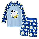 CCIKun Badeanzug Mädchen Junge Unisex Bademode langärmliges UV-Schutz Cartoon Muster Sommer Strand Bademode Badeanzug 2-8 Jahre(Blau,2-3 Jahre)