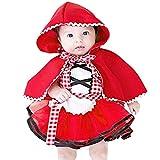 IBTOM CASTLE Disfraz Caperucita Roja Traje del Vestido Niña Bebé Ropa Recien Nacido Vestido Infantil Disfraz 3-4 Años