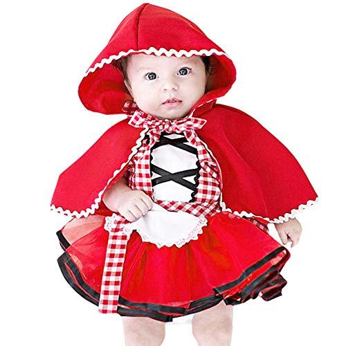 IBTOM CASTLE Säugling Baby Kostüm Halloween, Rotkäppchen 2-TLG. Baby Mädchen Kostüm für Kinder Märchen Prinzessin Verkleidung Karneval Cosplay Fasching Geburtstag Party Kleid Ballkleid 6-12 Monate