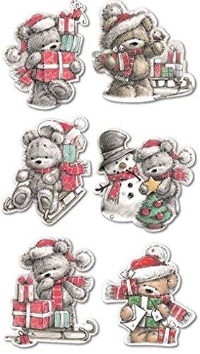 30Luxus Weihnachten Cute Santa Teddy Bär mit Mütze Glitzer Geschenkpapier Tags Kids Kinder Geschenk Baum Party Home Fun Spielzeug Craft -