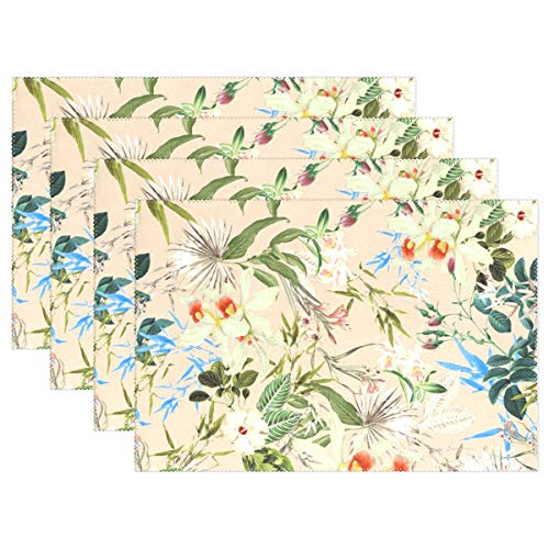 JTMOVING Platzdeckchen aus Textilgewebe, Tropische Tischsets, hitzeisolierend, schmutzabweisend, für Esstisch, langlebig, Rutschfest, 4 ()