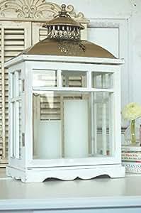 gro e landhaus laterne windlicht in shabby chic wei aus holz und metall. Black Bedroom Furniture Sets. Home Design Ideas