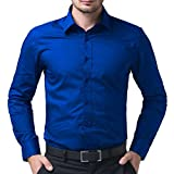 Being Fab Men's Full Sleeves Shirt (BFRYBLUESHT02-38_38_Royal Blue)