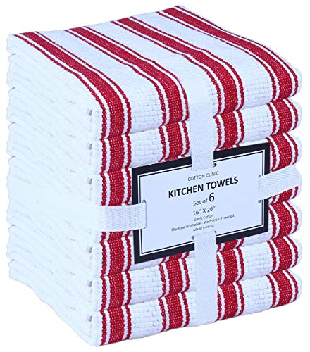 6 Pack Kitchen Towels, 16x26, Red Stripe, 100% Cotton, Cool & Crisp Basket Weave with Hanging Loop, Highly Absorbent, Professional Grade, Heavy Duty, Machine Washable