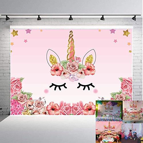 Qian Einhorn Mottoparty Foto Hintergrund Geburtstag Party Hintergrund Baby Dusche Dessert Tisch 7x 150