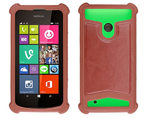 Shopme Shock proof,Silicon,Premium PU Leather Back cover for NOKIA Lumia 530 Dual (Brown Color) (Special Anti Shock Bumpers on all four sides , 360 degress Protection, Access to all Ports)  available at amazon for Rs.219