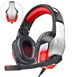 Gaming Headset für PS4, Gaming Kopfhörer 3.5mm Surround Sound mit Mikrofon/ 50 mm Audiotreiber/ LED-Licht/ Soft Memory Earmuffs/ Kopfhörer für Laptop, New Version Xbox One, Tablet, PC, Smartphone