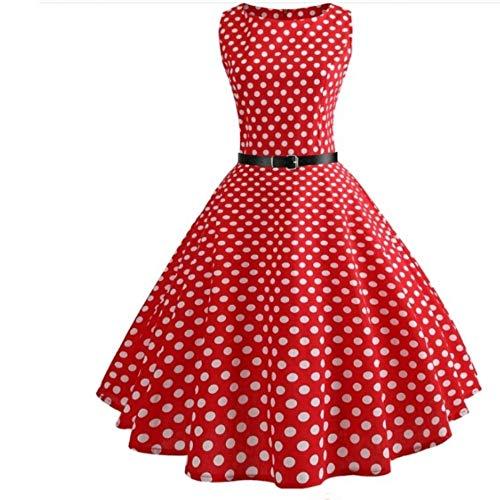 Polka Dot Kleid Frauen Vintage Elegante Schaukel Country Rock Party Kleid Plus Größe Lässige Midi Mantel Runway Kleid, L ()