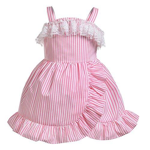 arty Cosplay Kostüme ärmelloses rosa Kleid gestreiften Outfit für kleines Baby (Tanz Kostüme Gestreiften Trikot)