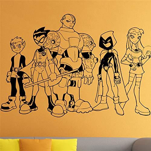 ljradj Wall Decal Teen Titan Hero Vinyl Sticker Super Hero Wall Art Mural Decoration Home Decor Room Decal Yellow 86 x 58 cm