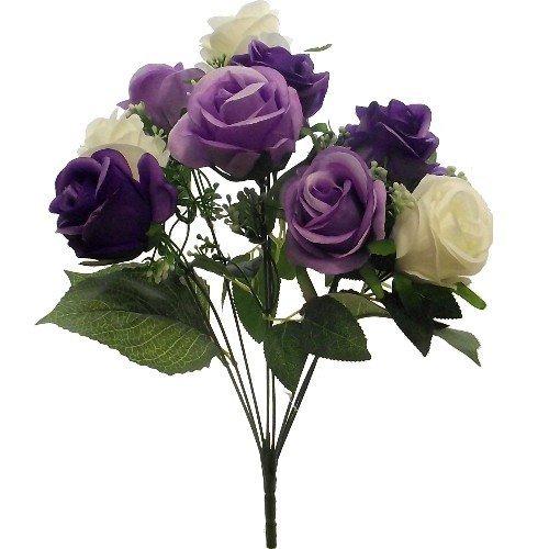 FS 42cm Kunstblumen Lila & Creme Offene Rose Bush mit 9groß 7,6cm Blütenköpfe–Home Garten