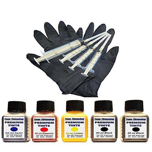 Preisvergleich Produktbild Premium Pigment Tinte Set Nachfülltinte 5 x 50 ml Tinte für Patronen HP 934 / 935 black und color plus 4 Nachfüllspritzen mit Nadeln und 1 paar Latexhandschuhe