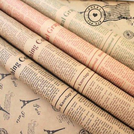 Uchic 10PCS colore casuale 52x 75cm carta regalo Artware imballaggio giornale di Natale di carta kraft vintage pacchetto regalo