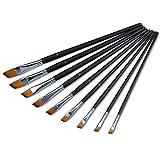 Yosoo 9 Künstlerpinsel Set Schrägpinsel schräg Schrägzieher Nylon Acrylpinsel Aquarellpinsel für Acrylfarben Aquarellfarben