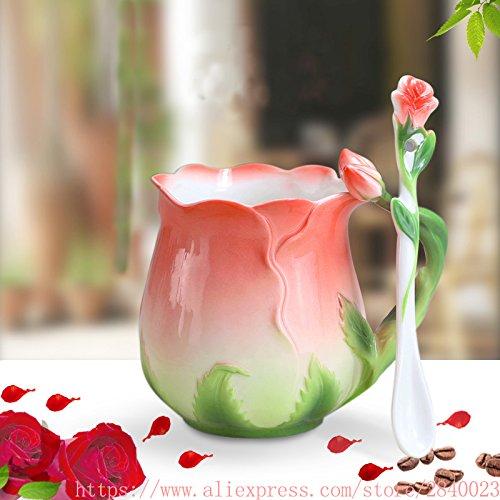 grubnos Becher 3D Rose Blume Emaille Kaffeetasse Tee Milch Tasse Set Mit Löffel Kreative Keramik Bone China Drink, Rot -