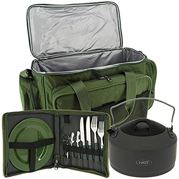 NEW CARP FISHING INSULATED BAG CARRYALL AND DELUXE CUTLERY PLATE SET BY NGT !!!