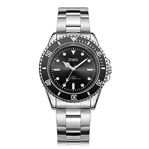 Montre à quartz pour homme DWG - Bracelet en acier inoxydable Montre bracelet pour hommes Affichage de style Business Business de luxe et design de mode 4ATM résistant à l'eau