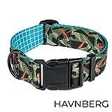 HAVNBERG Hundehalsband Gr. L Halsumfang 41,0cm – 66,0cm, breites Halsband für große und mittelgroße Hunde, Breite 3,8cm, Camo, Camouflage