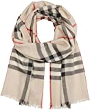 Burberry Damen Schal Lightweight Check Scarf, Mehrfarbig (Stone Check), One Size