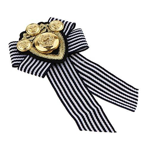 Fenteer Männer Brosche Pins Revers Pin Abzeichen Dekoration Anstecknadel Geeignet für Rundhals - Schwarzer Streifen - Britische Streifen-krawatte
