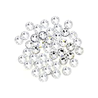 Pack of 100 EIMASS® Resin Flat Back Round Crystals, Non Hotfix Rhinestone, Diamante, Big Size Gems (12mm, Clear Crystal)