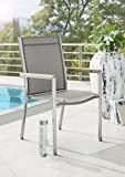 Destiny Sessel Macao Stapelsessel Edelstahl Textilene Taupe Gartensessel Teak