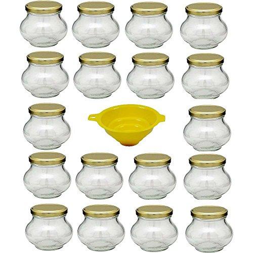 Viva Haushaltswaren - 18 bauchige Marmeladengläser 235 ml mit Drehverschluss inklusive gelben Einfülltrichter